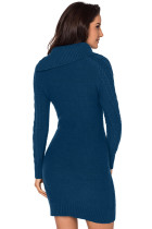 Asymmetrisk knäppad krage Biscay Bodycon tröja klänning
