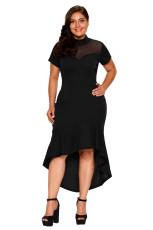 Černá síťovina Vložte přehozené Hi-low Hem Curvy šaty