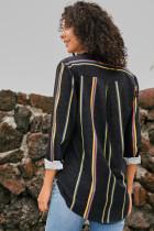 Camicia donna moderna a righe grigio scuro