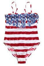 Flag Striped Star Tassel Little Girl Badedragt