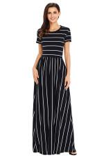 Valkoinen Striped Musta lyhythihainen Maxi mekko