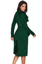 Jade Grön Asymmetrisk Peplum Style Pussy Bow Dress