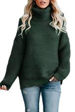 Sötétzöld hangulatos hosszú ujjú pulóver