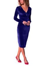 Robe mi-longue en velours lisse bleu royal à col en V