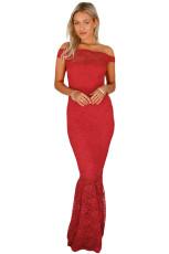 Röd Bardot Lace Fishtail Maxi Klänning