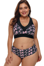 Plus Size Geometry Cross Back Bikini Baddräkt