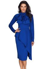 Royal Blue Asymmetric Peplum Style Pussy Bow Dress