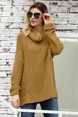 Khaki hangulatos hosszú ujjú pulóver