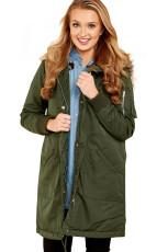 Army Green Fur Trim Hooded Longline Coat
