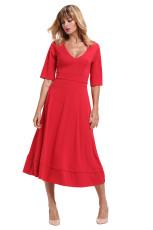 Rotes, halbes Hülsenkleid mit V-Ausschnitt und hoher Taille