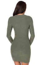 Army Green Slouchy Cable Gensere Kjole