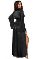 Siyah Glamour Valentine Uzun Robe
