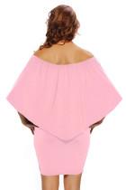 Wiele Dressing Warstwowa Różowa Mini Sukienka Poncho