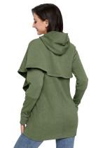 Army Green Tulip Wrap Cape stílusú hosszú ujjú póló