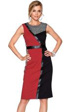 レッドブラック非対称パッチワークレザートリムシースドレス