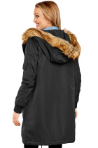 Black Fur Trim Hooded Longline Coat