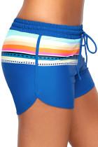 Striped Print Accent Cobalt Blue Drawstring Board Shorts