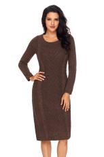 Kaffe kvinnors hand stickad tröja klänning