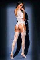 Beyaz Şeffaf Dantel Örgü Teddy Jartiyer Vücut Çorabı