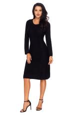 Svart kvinnas hand stickad tröja klänning