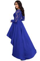 Sukienka Royal Blue z długim rękawem i koronkową sukienką o wysokim obniżeniu