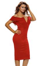 レッドオフショルダーミディアムドレス