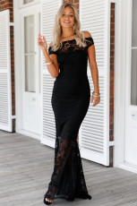 Svart Bardot Lace Fishtail Maxi Klänning