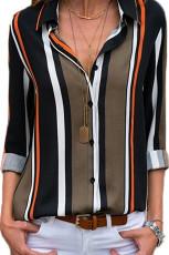 Chemise moderne à rayures marron noir