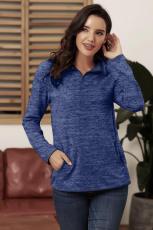 Sweat-shirt zippé à quart bleu