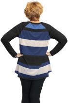 Svart Multi Colorblock Raglan Sleeve Plus Size Women Top