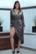 블랙 스팽글 포장 Ruched 불규칙한 드레스