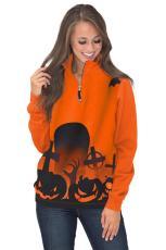 Halloween sikoltozó cipzáras pulóver