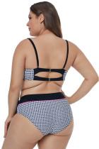 Bikini taille plus imprimé passepoil contrastant avec passepoil