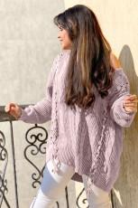 Dzianinowy sweter w paski Pink Love Letters