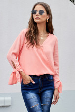 핑크 V 넥 셔링 넥타이 슬리브 탑