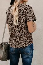 크루 넥 레오파드 프린트 베이직 티셔츠
