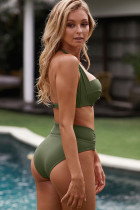 Army Green Shirring Bra Halter Cổ cao eo bikini