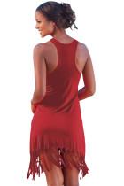 Červená plážová dlouhá košile s třpytem