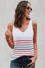 Canotta in maglia bianca a righe multicolor
