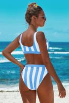 Sky Blue Athletic Striped Tank High Waist Bikini