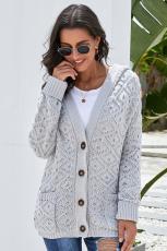 Grey Knit Hooded Cardigan