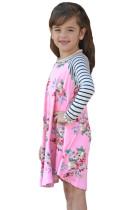 子供のためのピンクの春のフレギングフローラルストライプ柄のスリーブの短いドレス