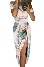 Biała sukienka z krótkim rękawem i kwiatowym nadrukiem