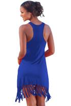 Modrá plážový dlouhý košil s tkaničkami