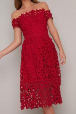 Κόκκινο Off ώμο κοντό μανίκι φόρεμα κόμματος