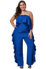 Combinaison-pantalon taille haute à bretelles bleues cobalt Prime Dreams