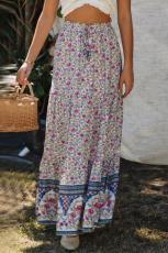 Niebieska spódnica maxi z kwiecistym wzorem w talii z kwiecistym wzorem w talii