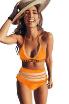 Bikini à taille haute avec empiècement en mesh
