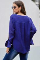 블루 V 넥 셔링 넥타이 슬리브 탑