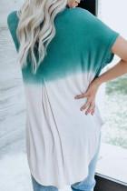 Màu xanh trắng ombre khối màu áo sơ mi mùa hè giản dị